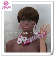 lastest design beads necklace set nigerian wedding beaded jewelry white and hot pink jewellery