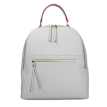 Casual Backpack in guangzhou factory handbag pu leather litchi skin white color high capacity
