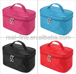 New Good Portable Type Bags Zipper Cosmetic Storage Make up Makeup Bag 4colors Handle Train Case Purse Toiletry Pouch