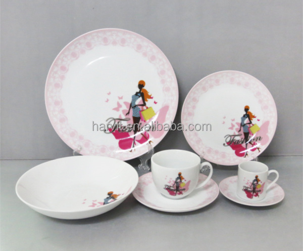 2014 NEW design fashion lady dinnerware sets decoration ceramic tableware sets round porcelain dinnerware sets