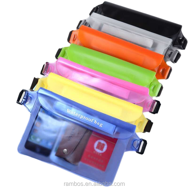 Sealed Cell Phone PVC Clear Waist Case Waterproof Bag for Smartphone Camera for iPad Mini