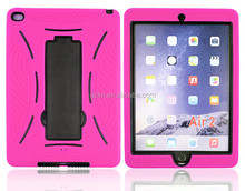 New arrival high quality defender kickstand case hard silicone back case for iPad Air 2/ iPad 6