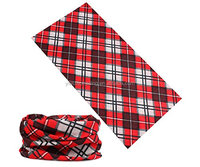 Red Plaid Seamless Tube Neck Warmer tartan Face Mask cheap custom printing polyster Motorcyle sport scarf Bandana