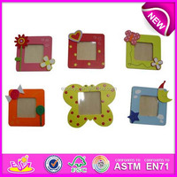 New design wholesale beautiful photo picture frames,colorful wooden toy picture frame wood for children WJ277967