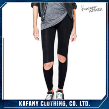 Ripped Knee Basic Jersey Sexy Slimming Leggings Custom Jogger Pants
