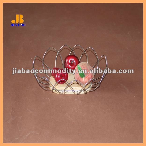 rubber wood and wire mango fruit basket