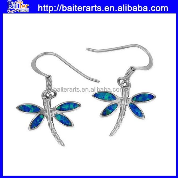Hawaiian Silver Jewelry 925 Silver Rhodium Synthetic Blue Opal Dragonfly Dangle Earring