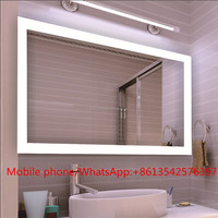 Wall Mount LED Lighted Frameless Bathroom Mirror with Clock
