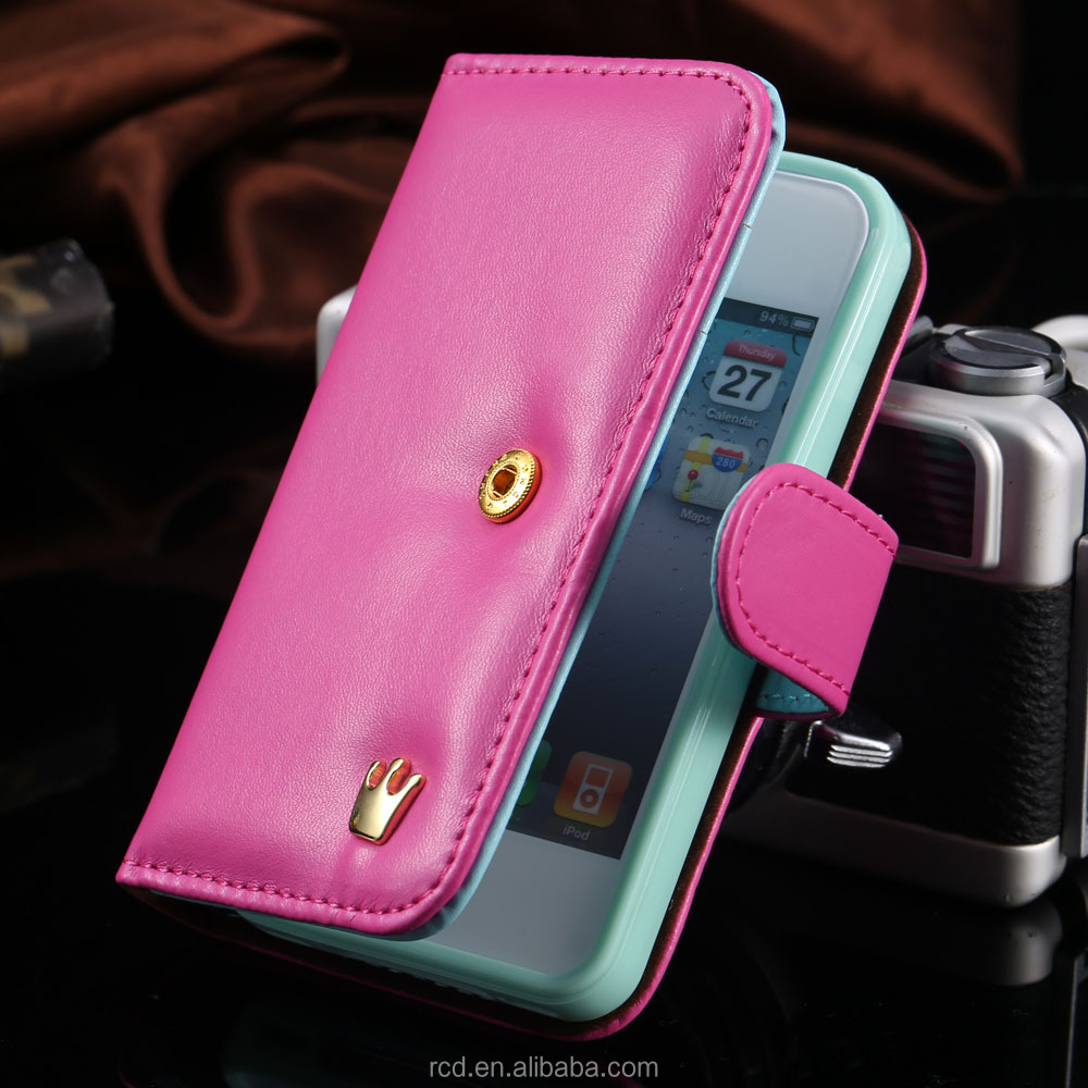 Flip Leather Case For iPhone 4s With King Crown For iPhone4 Case Mobile Phone Holster