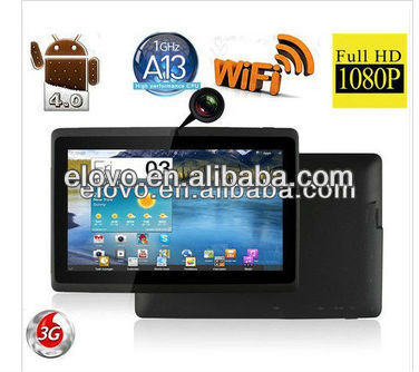 allwinner a13 processor ram 512mb rom 4gb android tablet 7inch without sim card