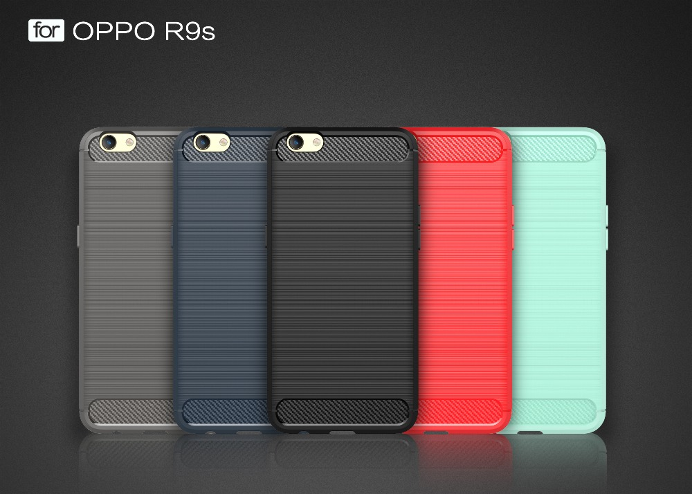 Brushed graphite shockproof carbon fiber Mobile Phone Back Cover Case for Oppo R9S