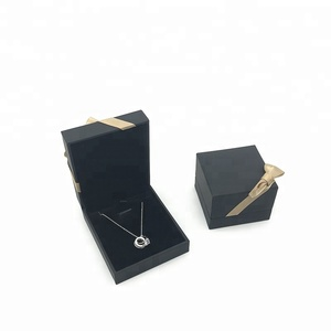 High Grade Fashion Black Paper Packaging Earrings Jewelry Box Holder With Bowknot