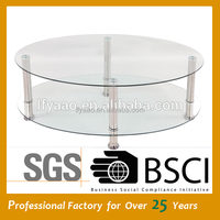 Cheap high quality durable oval glass coffee table /dining table JY-13C