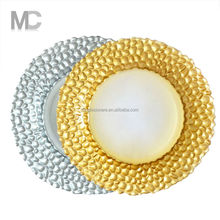 Hot sale gold or sliver beaded glass charger plates