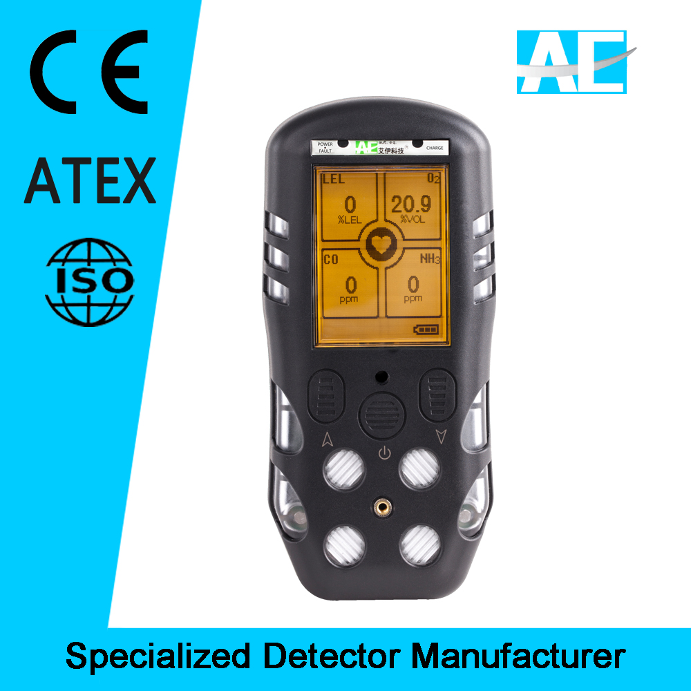 ATEX Approved IP66 Portable 4 gas detector CO H2S O2 CH4