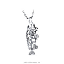 3 Color OPK Fish Bone & Fishing Hook Pendant+Optional Necklaces Punk Style Men 316L Steel Link Chain Personality Jewelry