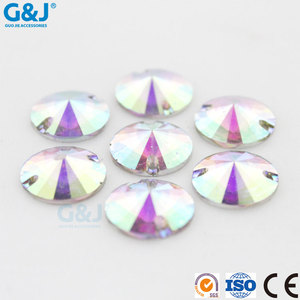 Guojie brand yiwu factory wholesale beautiful round resin stone with holes