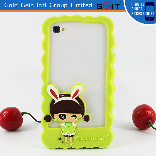 Cute Silicon Bumper Case Cover For iPhone 4