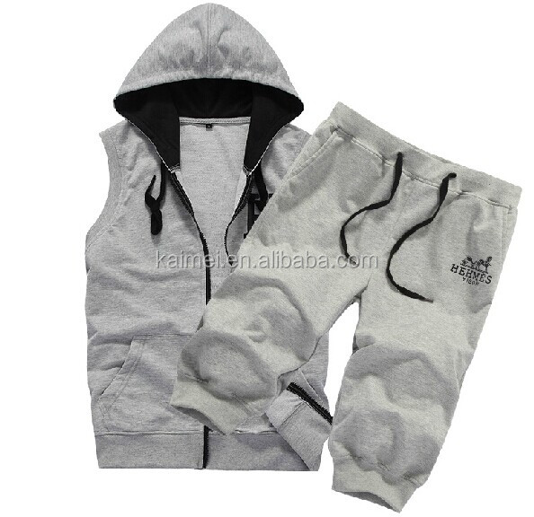 Grey Full Zip Up 100% Cotton /Polyester /CVC/TC French Terry Sleeveless Hoodie & 3/4 Pants Set For Sportswear /Jogger/Yoga