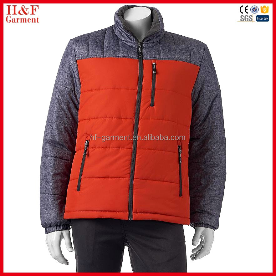 Sample provided winter clothing colorblock custom quilted puffer jacket
