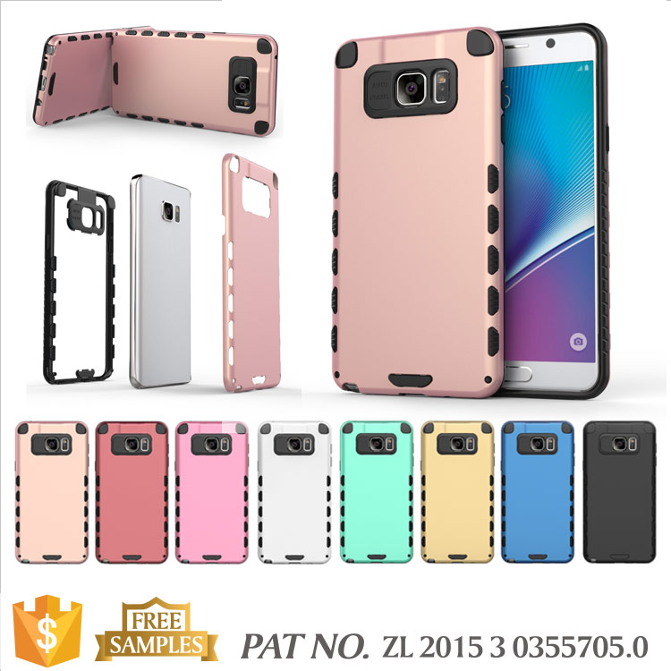 Hybrid 2 in 1 cell phone case for samsung galaxy note 5 case cover