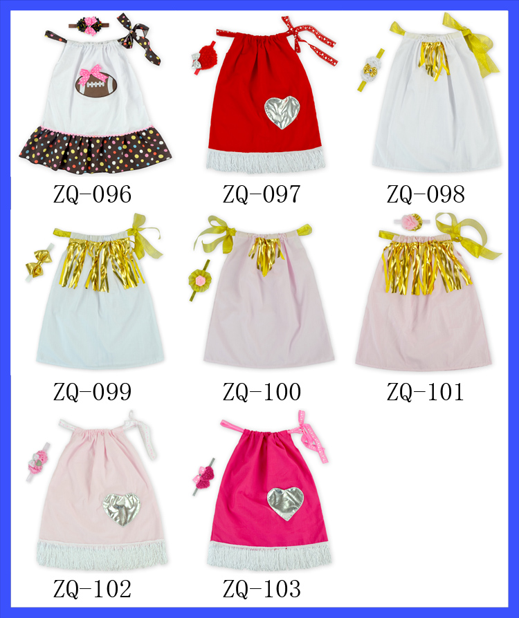Valentines Day Kids Baby Fashion Dress Lovely Heart Pattern Pillowcase Dress With Pocket Latest Dress Designs
