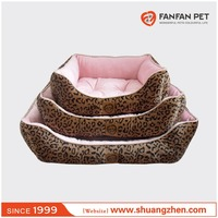 luxury pink leopard print square pet bed