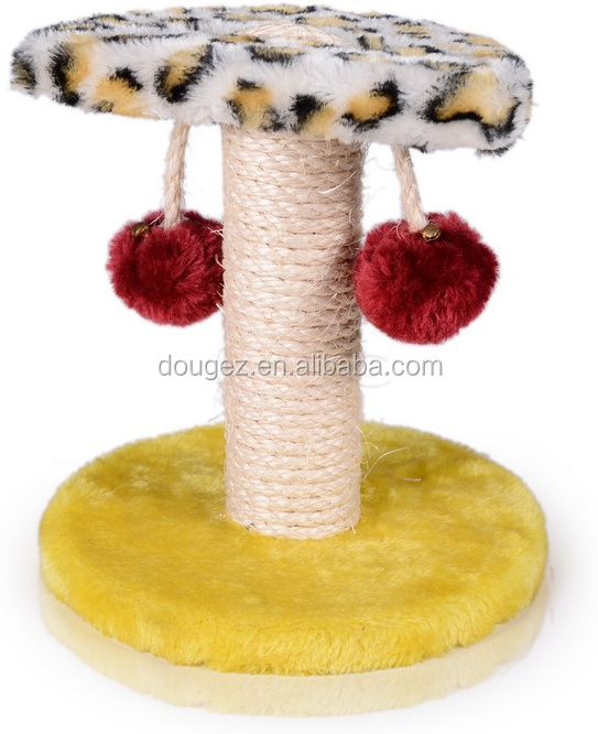 Manufactory supplier product colorfully soft plush cat scratcher board with ball,cat board,sisal cat toy