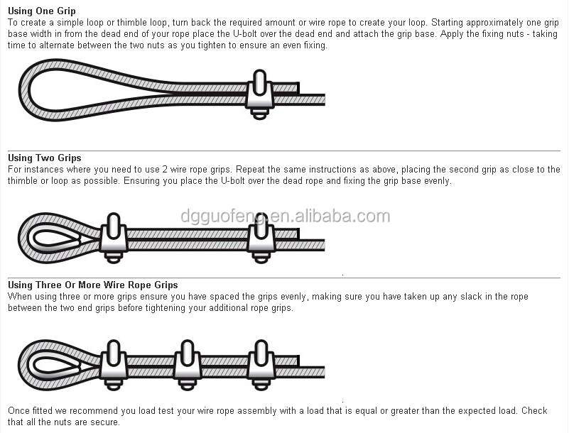 Wire Rope Clip U Bolt Clamp Type 316 Stainless Steel