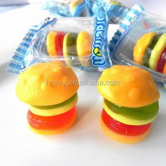 Halal beef Assorted fruit flavors fast food series mini gummy candy burger