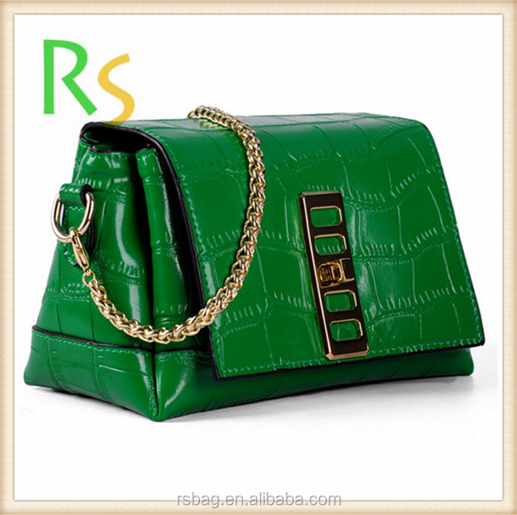 online shop china Hot sale fashion green cow leather bag wholesale cheap handbag oem factory