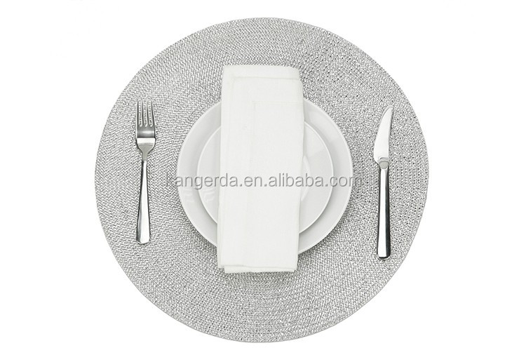 Round Braided Woven Decorative Metallic Plastic Tablemat