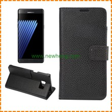 Wholesale litchi pattern PU Leather Wallet Flip Stand Phone Case For Samsung Galaxy Note 5