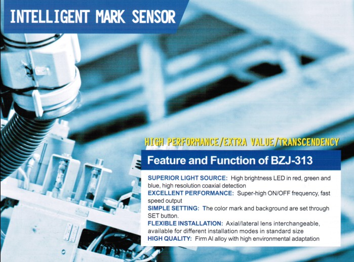 New type high performance extra value transcendency intelligent RGB light sources color mark sensor BZJ-313