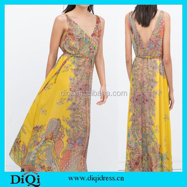 Fashion Vintage Women Sexy Deep V-Neck Sleeveless Floral Print Yellow Boho Beach Long Maxi Dress Vestidos Plus Size