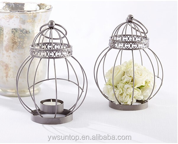 Vintage Bird Cage Shape Wedding Favor Party Supplies Mini Metal Candle Lantern