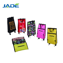 Two wheel luggage handbag cart cheap foldable shopping bag trolley,promotional folding trolley bag with wheels