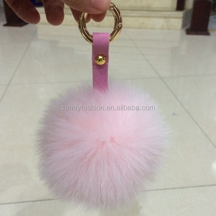 2013 hot selling genuine fox fur ball charm key chain for phone & bag