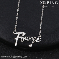 43203 Xuping eternity pendant necklace costume jewelry inlayed stone chain forever letter