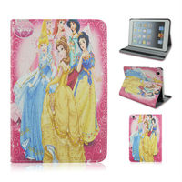 Hot! Cartoon Princess PU Leather Case With Elastic Belt For Apple iPad 3,ipad air,ipad mini From Alibaba China