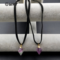WT-N1026 Wholesale Women Chocker Necklace Natural Fluorite With Suede leather Chocker Fashion Fluorite Chocker Necklace