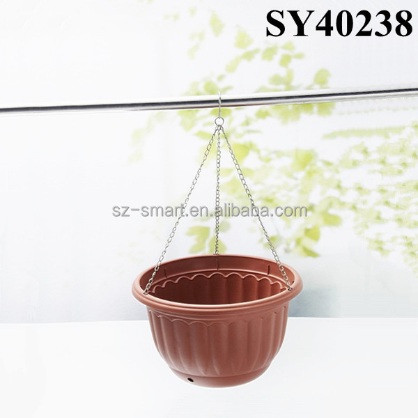 Terracotta color outdoor big hanging plastic flower pots