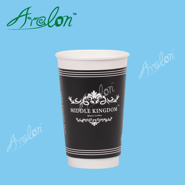 Double wall glass paper cup with lids