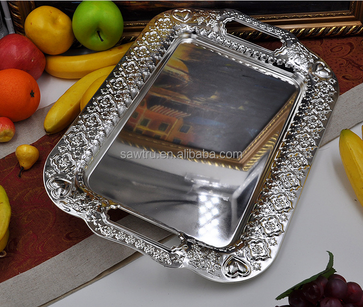 Luxury metal silver fruit serving tray / fruit serving tray / fruit decoration tray
