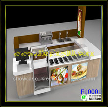 US shop mall display hot dog kiosk with water sink and logo
