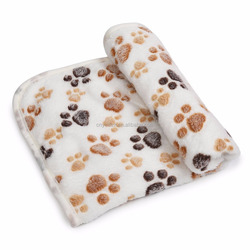 Pet Dog Cat Blanket Cushion Puppy Warm Bed Mat Soft Coral Velvet Pad with Paw Print