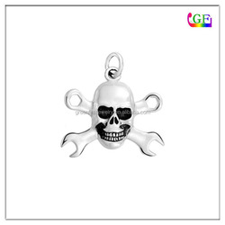 Custom metal Tool wrench charm with skull