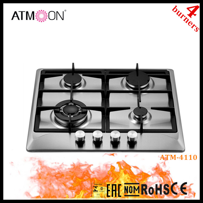 4 Ring 60cm Classic Stainless Steel Gas Hob/Cooktops with Cast Iron Pan Stands