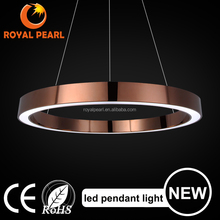 2016 Rose Gold luxury Metal Acrylic Round circle LED pendant light for home hotel indoor decoration