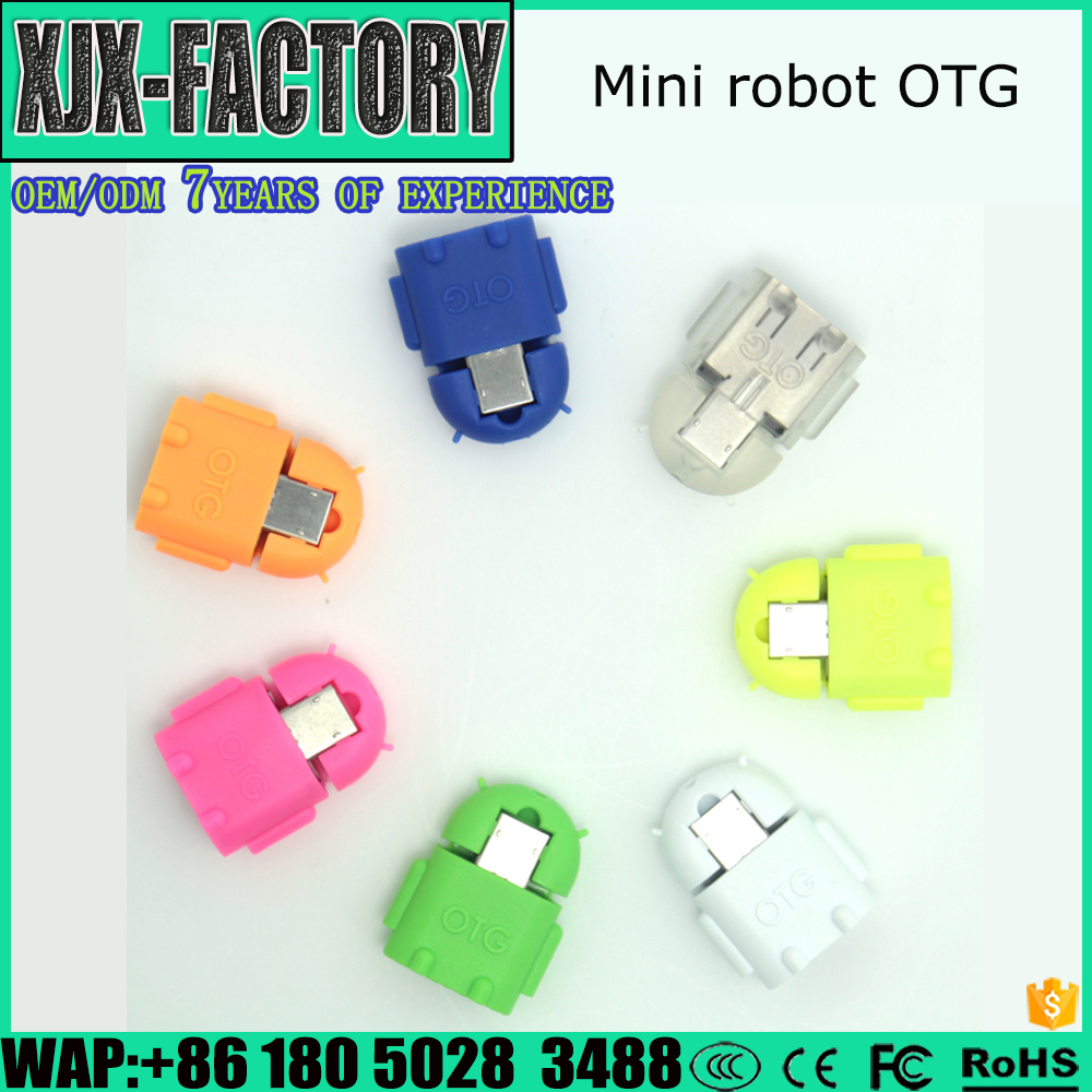 Micro USB to USB Female Android robot OTG Flash disk Adapter Colorful